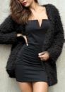 (Estimate Sent out within 3~6 work days) Women's Lapel Long Sleeve Pocketed Fluffy Faux Fur Wrap Teddy Coat Jacket