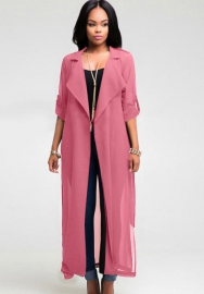 Pink Long Sleeve Adjustable Waist Overlong Chiffon Open Stitch Outwear
