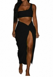 Women Sexy Single Shoulder Crop Tops and Irregular Bandage Skirt 2 Piece Suit