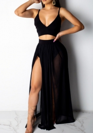 Women's Sexy Summer Halter Slit 2 Piece Maxi Chiffon Dress Skirt Set
