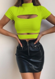 (Only Tops)Women Mock Neck Long Sleeve Cut Out Open Front Crop Top Tee Tops Slim Short T-Shirt