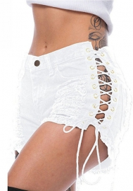 Women Sexy Back Ripepd Double Side Lace Up Jeans Short Pants