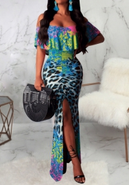 Women Sexy Off Shoulder Ruffle Print Leopard High Split Maxi Dress