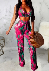 Women Fashion Print Strap Bra and Long Pants 2 Piece Suit