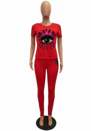 Women Fashion Big Eyes Short Sleeve Tops and Long Pants 2 Piece Suit