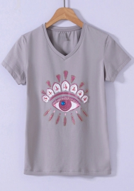 Women Fashion Big Eyes Classic Tee