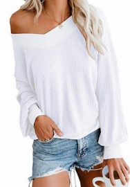 Women One Off Shoulder Tops Long Sleeve Color Block Striped Pullover Sweatshirt