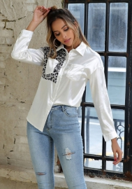 Women Fashion Part Of Leopard Prin Front Button Classic Shirt