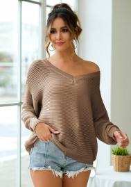 Women Fashion V Neck Sweaters Long Sleeve Loose Tops