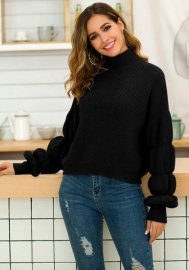 Women's High Collar Puff Sleeve Loose Pullover Sweater Knit Jumper Tops