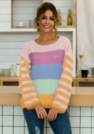 Women Fashion Colorful Contrast Color Striped Long Sleeve Loose Sweaters Tops