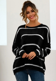 Women Fashion Round Neck Striped Long Sleeve Loose Sweaters Tops