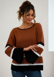 Women Fashon Flare Sleeve Striped Loose Sweaters Tops