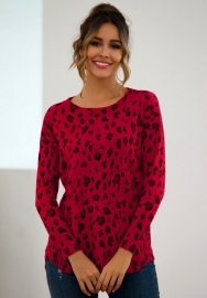 Women Fashion Dog Dot Round Neck Long Sleeve Sweater Tops
