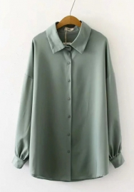 Women Fashion Solid Color Front Button Long Sleeve Classic Shirt