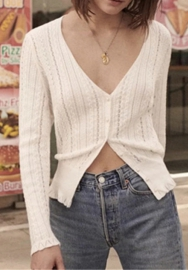 Women Fashion Sweaters V Neck Front Button Vest