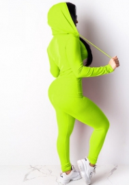 Women Fashion Solid Color Front Zipper Long Sleeve Tops and Long Pants 2 Piece Suit