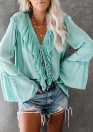 Women Fashion Chiffon Lace Up Ruffle Loose Long Sleeve Blouses