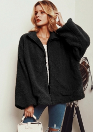 (Estimate Sent out within 3~6 work days) Women's Shearling Oversized Fleece Zipper Furry Fluffy Faux Fur Wool Sherpa Fuzzy Jacket Coat Outwear Warm Winter