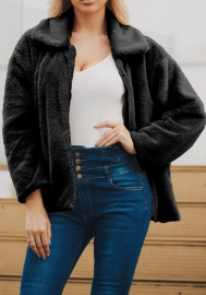 (Estimate Sent out within 3~6 work days) Women's Long Sleeve Lapel Zip Up Faux Shearling Shaggy Coat Jacket