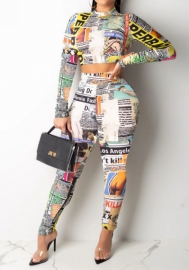 Women Fashion Print Newspaper Long Sleeve Crop Tops and Long Pants 2 Piece Suit