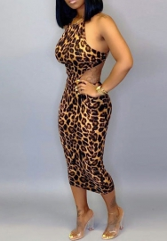 Women Fashion Print Leopard Backless Laceing Tie  Midi Dress