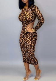 Women Fashion Print Leopard Backless Laceing Tie  Long Sleeve Round Neck Midi Dress