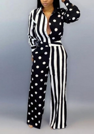 Women Fashion Print Dot&Striped Front Button Long Sleeve Jumpsuit