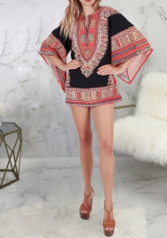 Women Fashion Africa Styles Loose Sleeve Mini Dress