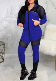 Women Fashion Front Zipper Long Sleeve Jacket and Long Pants 2 Piece Suit