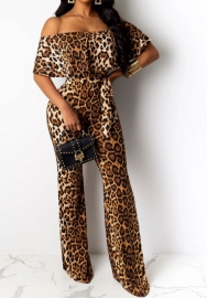 Women Fashion Off Shoulder Ruffle Print Leopard Jumpsuit