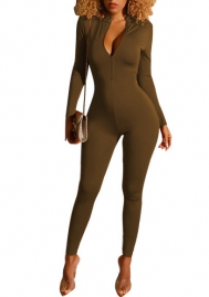 Women Fashion Front Zipper Solid Color Long Sleeve Bodycon Slim Jumpsuit