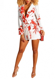 Women Fashion Floral Long Sleeve Romper Jumpsuit With Waist Tie