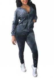Women Fashion Diamond Front Zipper Jacket and Long Pants Sweatsuits Set Tracksuits