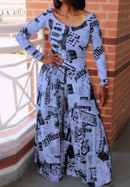 Women Fashion Print Newspaper Long Sleeve Hem Maxi Dress