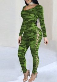 Women Fashion Camouflage Double Lace Up Side Bodycon Jumpsuit