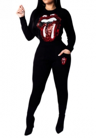Women Fashion Sequin Big Mouth and Big Eyes Long Sleeve Tops and Long Pants Tracksuit Suit
