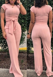 Women Fashion Round Neck Sleeveless Waite Tie and Long Pants 2 Picce Suit