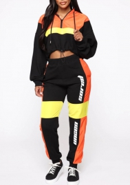Women Fashion Contrast Color Hoodie Crop Tops and Long Pants Tracksuit Suit