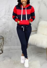 Women Fashion Contrast Color Hoodie Tops and Long Pants 2 Piece Suit