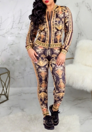 Women Fashion Print Front Zipper Long Sleeve Jacket and Long Pants 2 Piece Suit