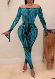 Women Fashion Colorful Striped Off Shoulder Flare Long Sleeve Bodycon Jumpsuit