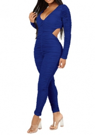 Women Fashion Cut Out Ruffle Long Sleeve Bodycon Jumpsuit