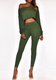 Women Fashion Loose Long Sleeve Crop Tops and Slim Long Pants  2 Piece Suit