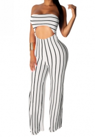 Women Sexy Striped Cut Out Tube Jumpsuit