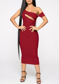 Women Sexy Cut Out Cold Shoulder Midi Dress