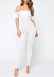 Women Fashion Tube Short Sleeve Bodycon Jumpsuit