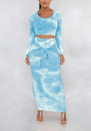 Women Fashion Graffiti Round Neck Long Sleeve Crop Tops and Midi Skirts 2 Piece Suit