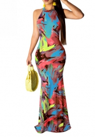 Women Fashion Colorful Halter Hot Beach Styles Maxi Dress