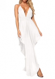 Women Fashion Strap Deep V Neck Irregular Maxi Dress